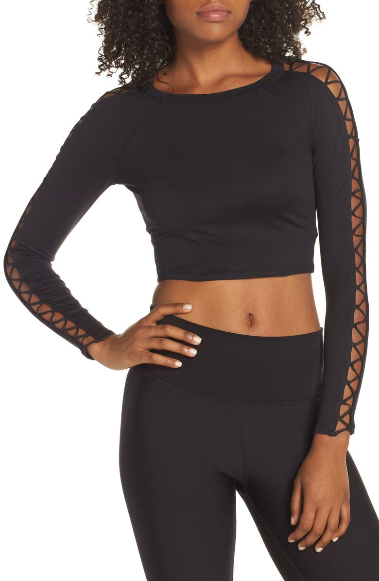 ALO Highline Fitted Crop Top, Main, color, 001