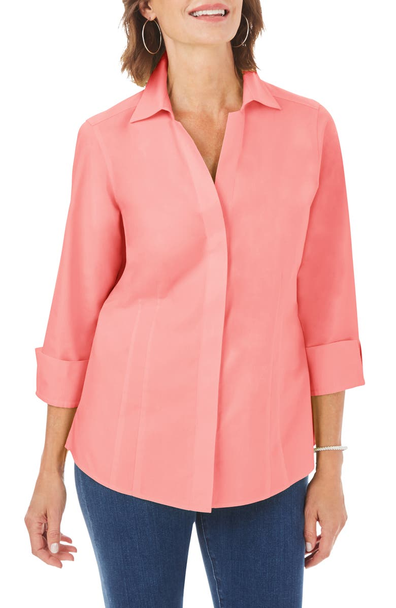 FOXCROFT Taylor Fitted Non-Iron Shirt, Main, color, CORAL SPICE