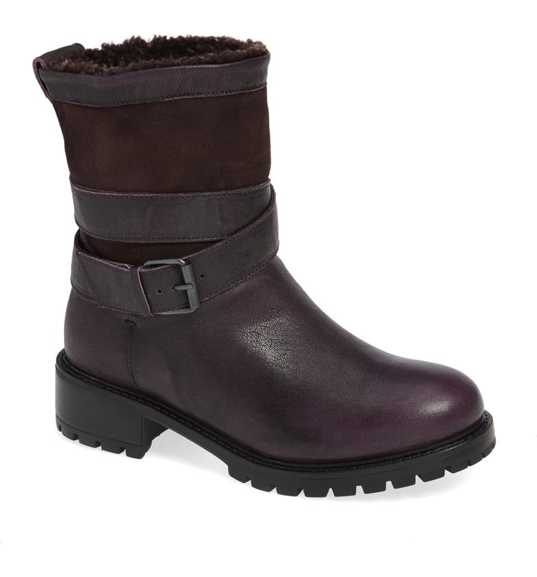 ROSS & SNOW Emilina Genuine Shearling Lined Weatherproof Bootie, Main, color, FROSTED WINTER PLUM LEATHER