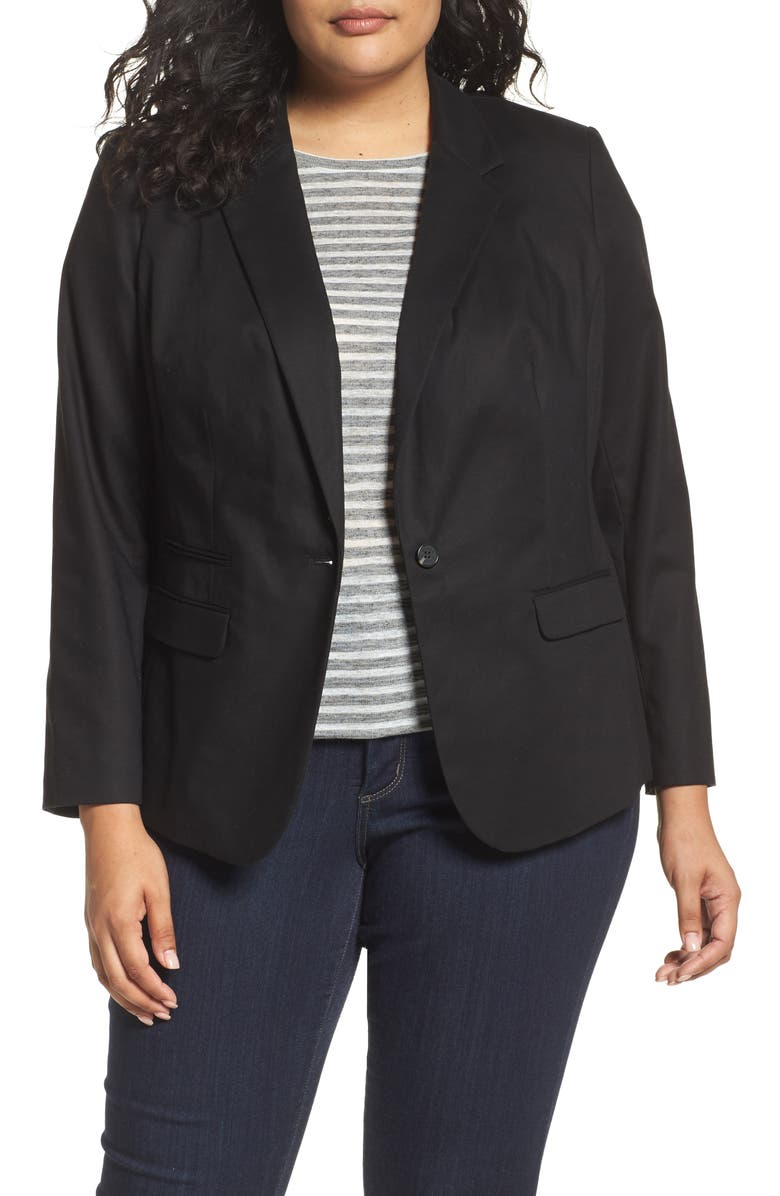 VINCE CAMUTO One-Button Blazer, Main, color, 001
