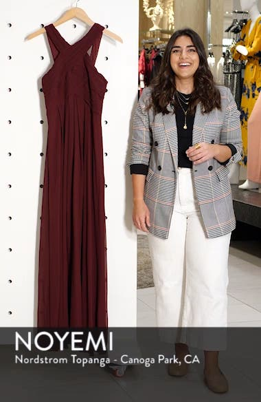 Crisscross Neck Chiffon A-Line Gown, sales video thumbnail