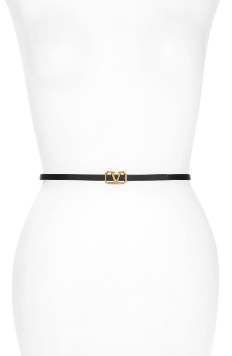 VALENTINO Garavani VLOGO Skinny Leather Belt, Main, color, NERO/ ROUGE PUR