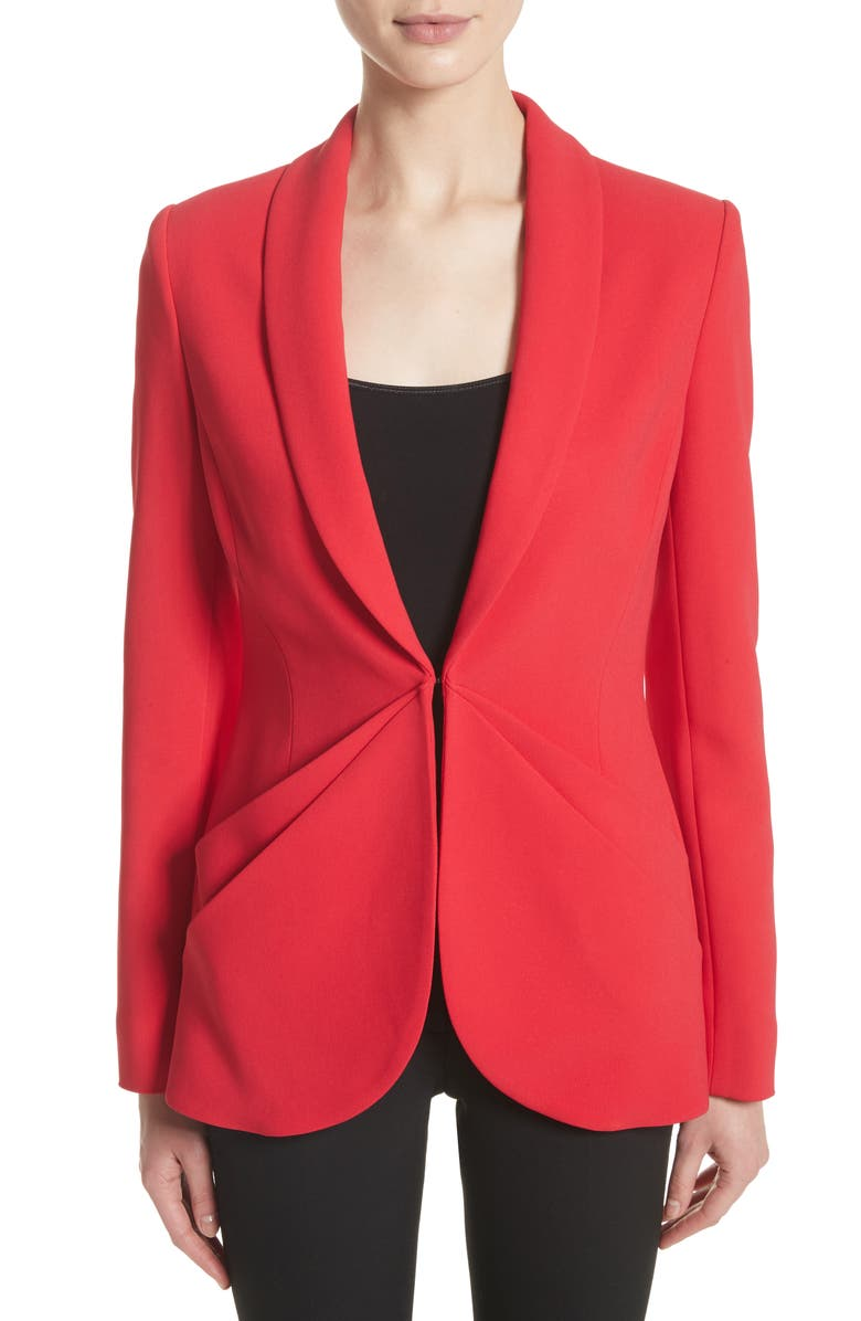 BRANDON MAXWELL Drape Pocket Crepe Jacket, Main, color, 600