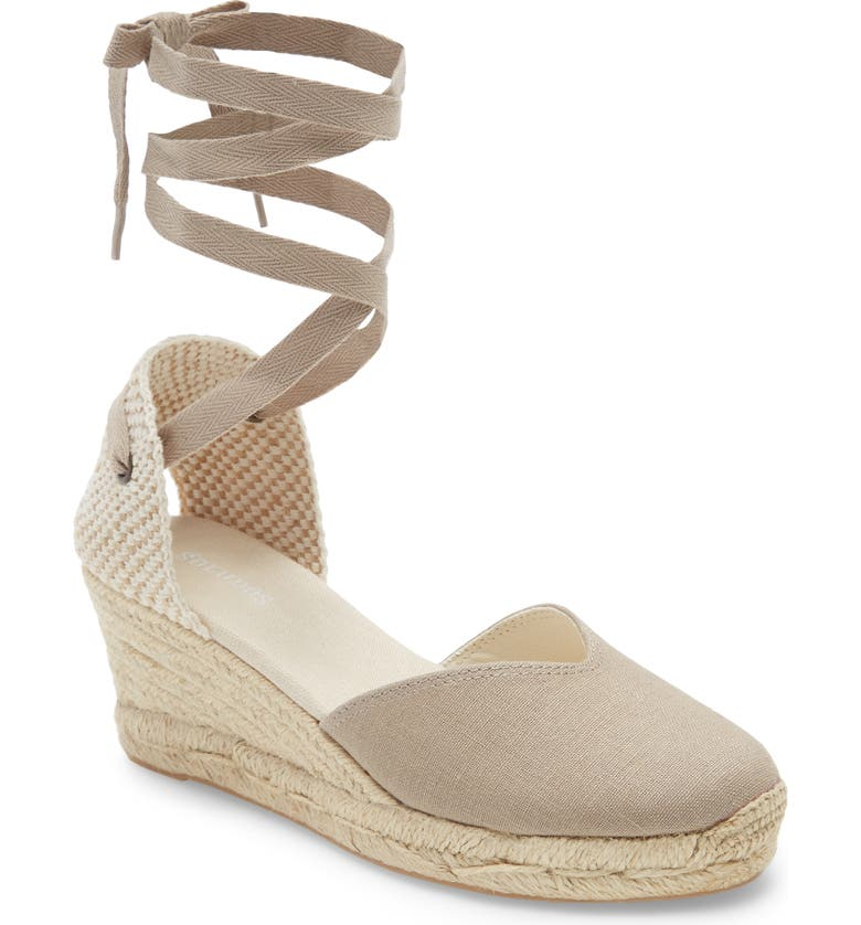 SOLUDOS Lyon Ankle Wrap Wedge Espadrille, Main, color, DARK SAFARI