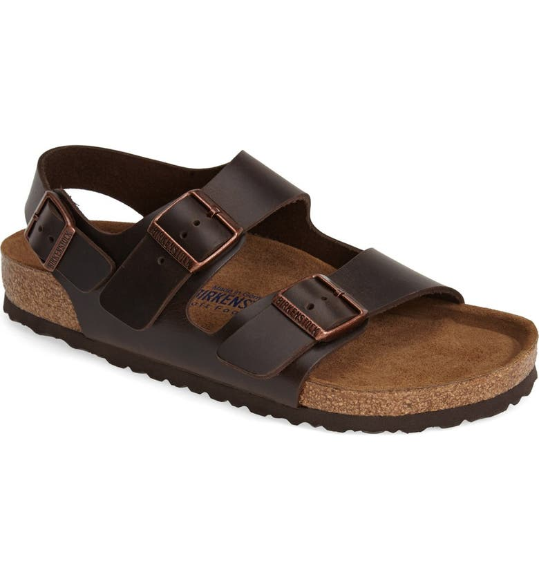 BIRKENSTOCK Milano Soft Footbed Sandal, Main, color, AMALFI BROWN