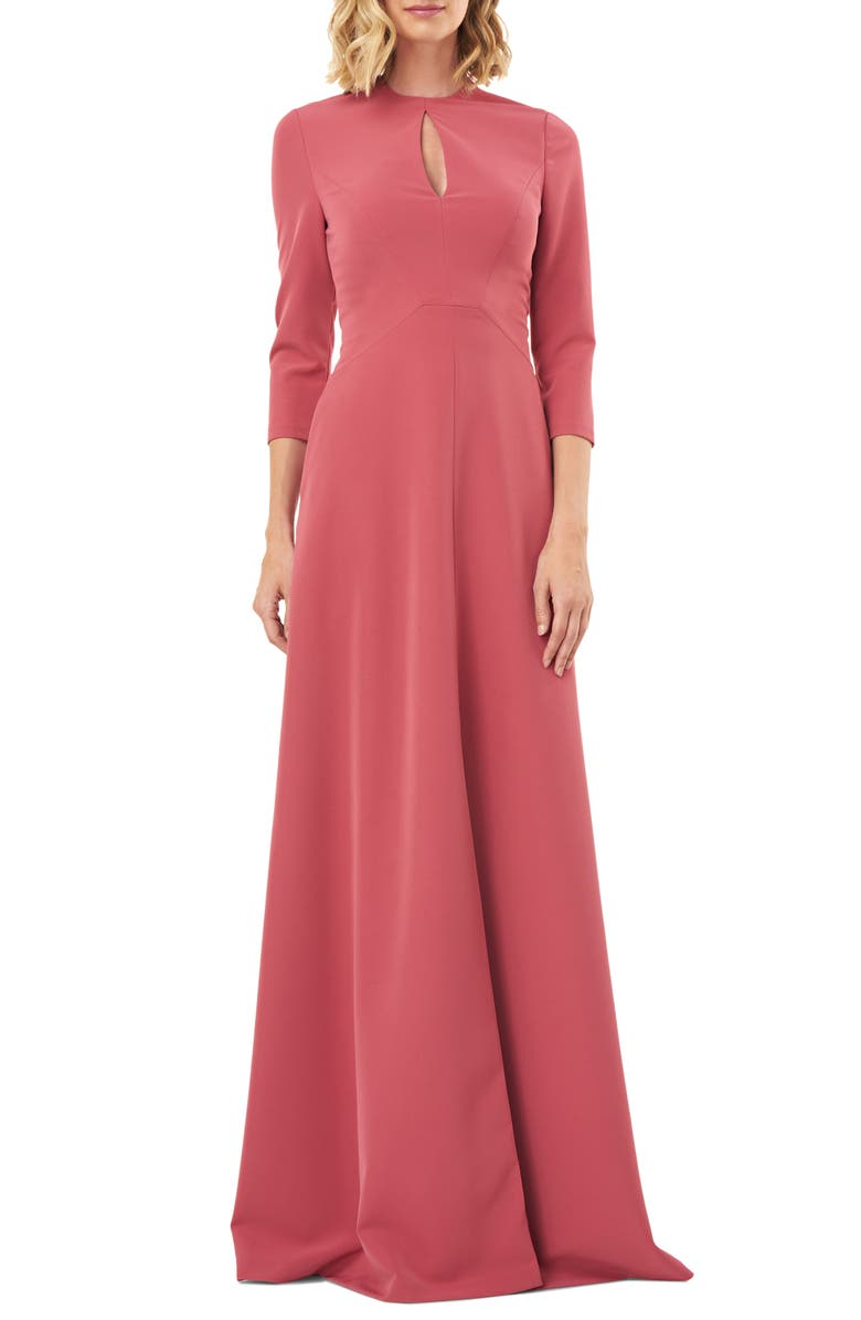 KAY UNGER Hannah Stretch Crepe A-Line Gown, Main, color, ROSE