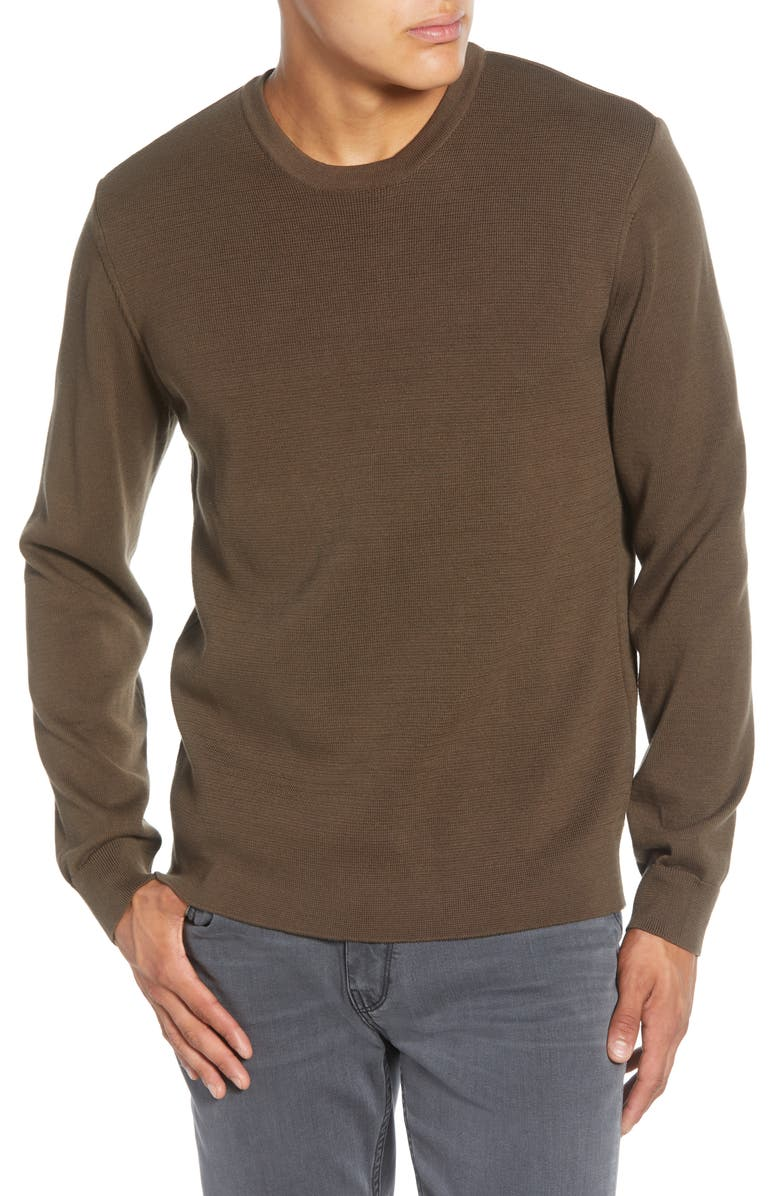 FRENCH CONNECTION Milano Regular Fit Crewneck Sweater, Main, color, LODEN GREEN