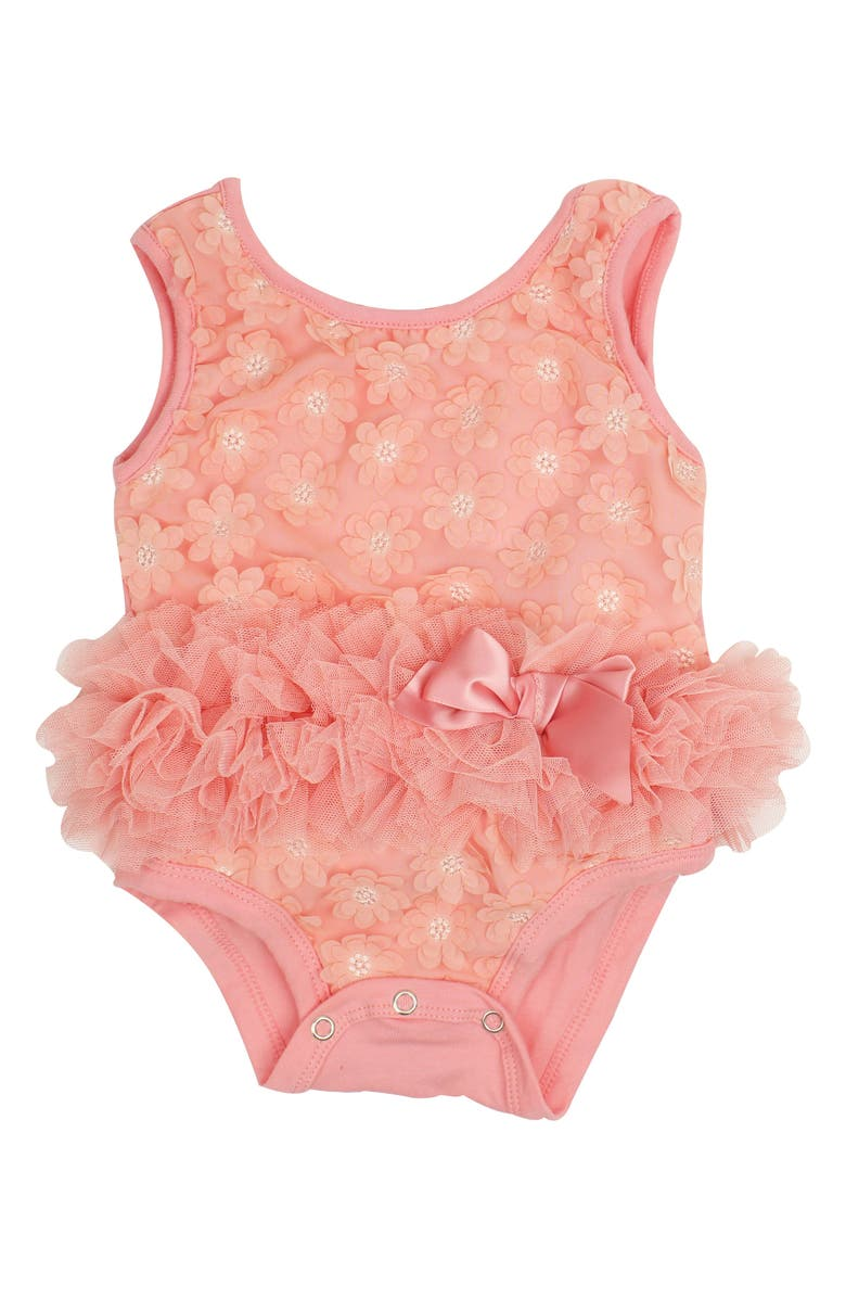 POPATU Flower Appliqué Tutu Bodysuit, Main, color, PEACH