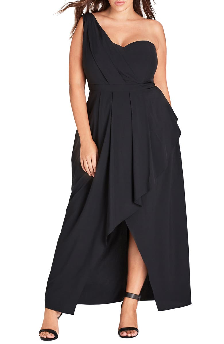 CITY CHIC Allure One-Shoulder Maxi Dress, Main, color, 001