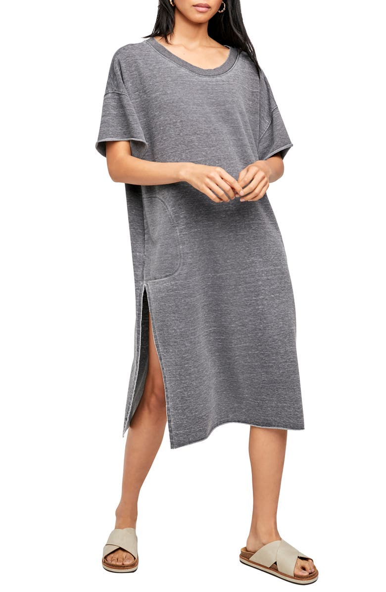 FREE PEOPLE Cozy Girl T-Shirt Dress, Main, color, WASHED BLACK