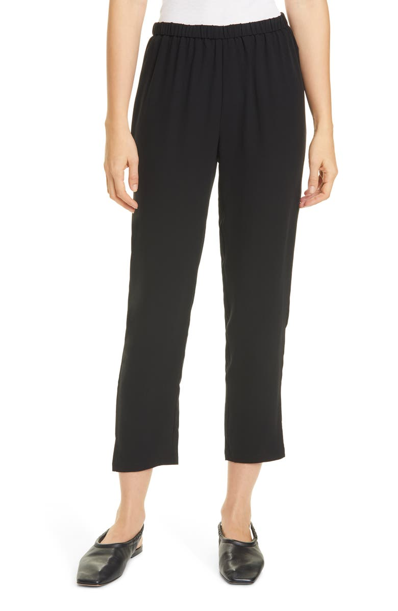 EILEEN FISHER Tapered Silk Pants, Main, color, Black