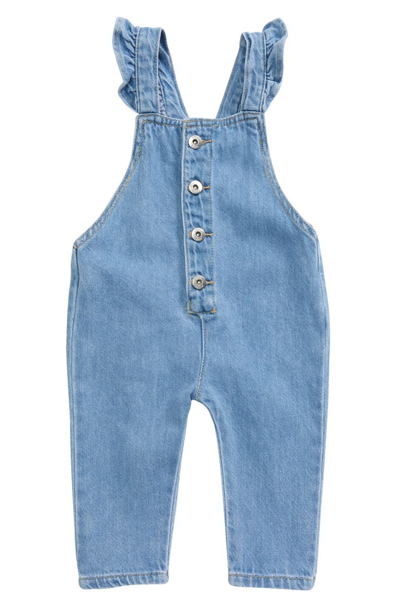 SEED HERITAGE Ruffle Denim Short Overalls, Main, color, BLEACHED BLUE