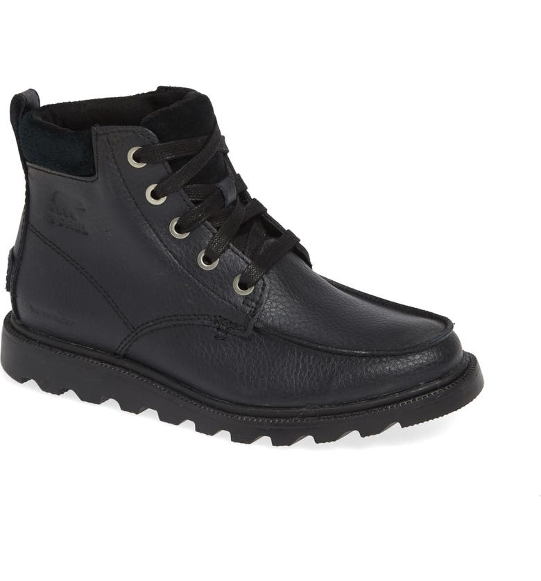 SOREL Madson Waterproof Moc Toe Boot, Main, color, BLACK
