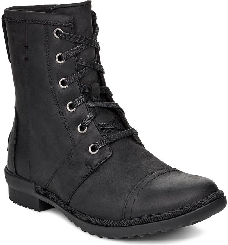 UGG<SUP>®</SUP> Ashbury Waterproof Lace-Up Bootie, Main, color, 001