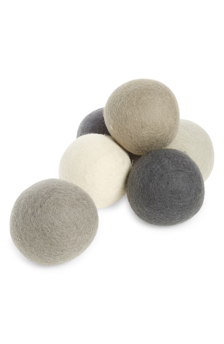 FIVE TWO BY FOOD52 Pack of 6 Wool Dryer Balls, Main, color, Grey
