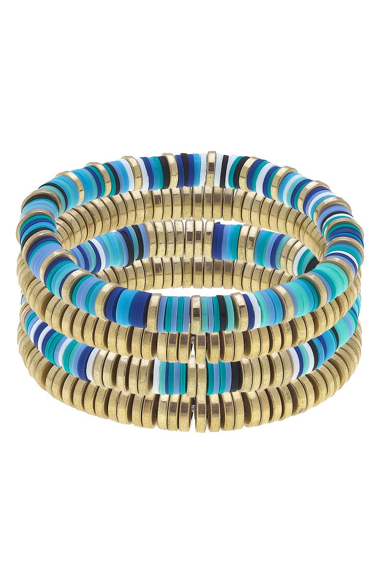 CANVAS JEWELRY Emberly Set of Four Stacking Bracelets, Main, color, AQUA