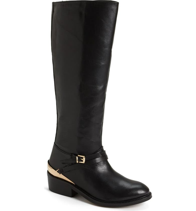 TOPSHOP 'Damson' Leather Riding Boot, Main, color, 001