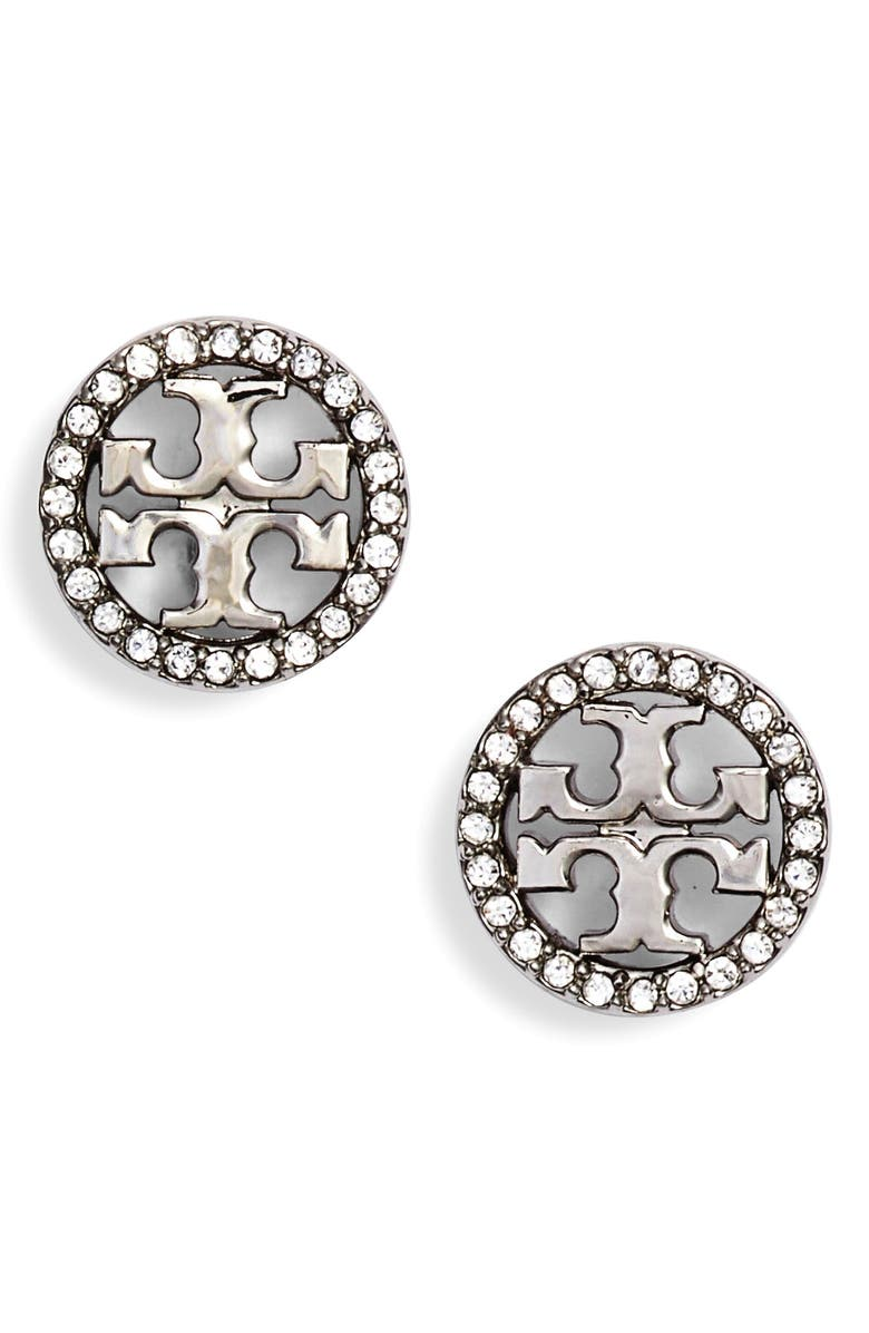 TORY BURCH Crystal Logo Circle Stud Earrings, Main, color, TORY SILVER/ CRYSTAL