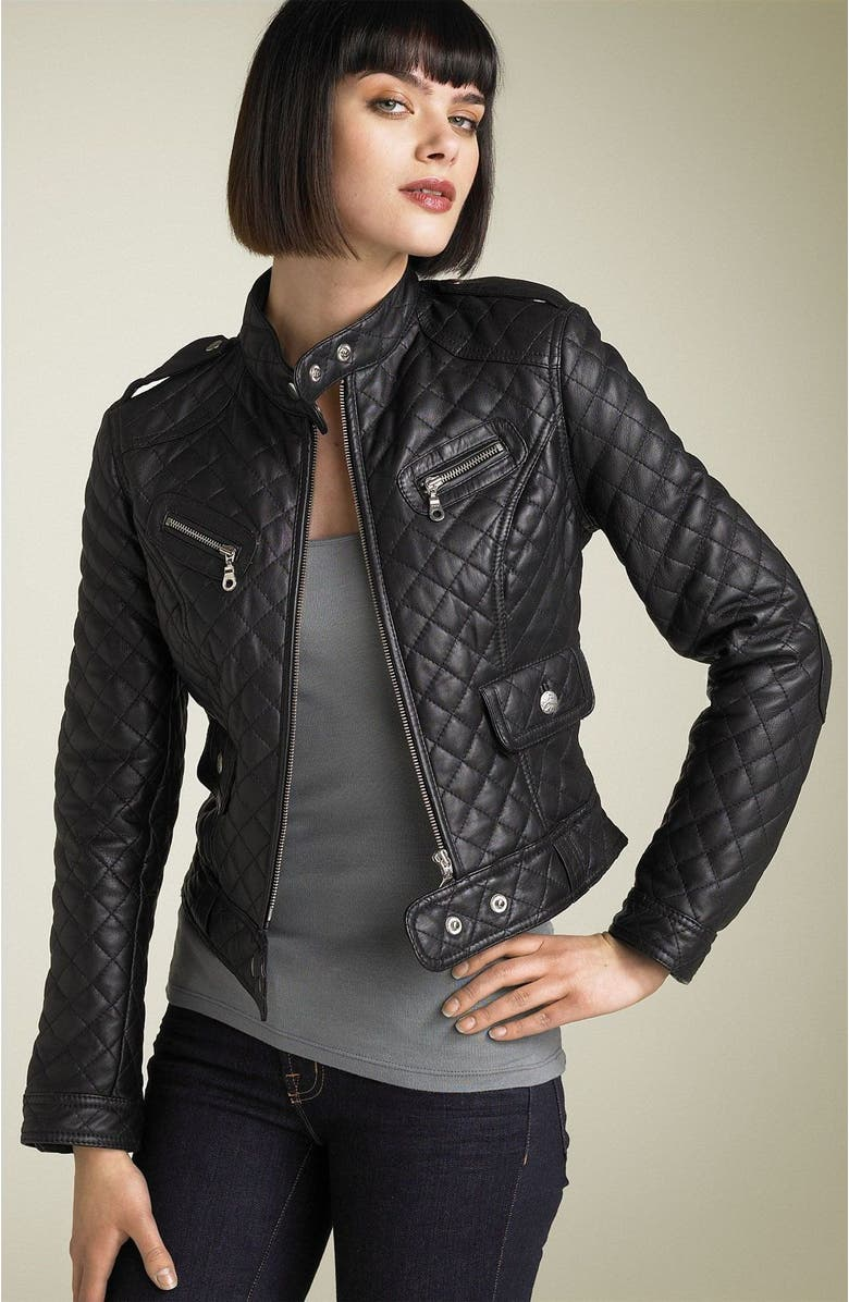 KENNA-T ESSENTIAL Kenna-T Quilted Leather Moto Jacket, Main, color, Black