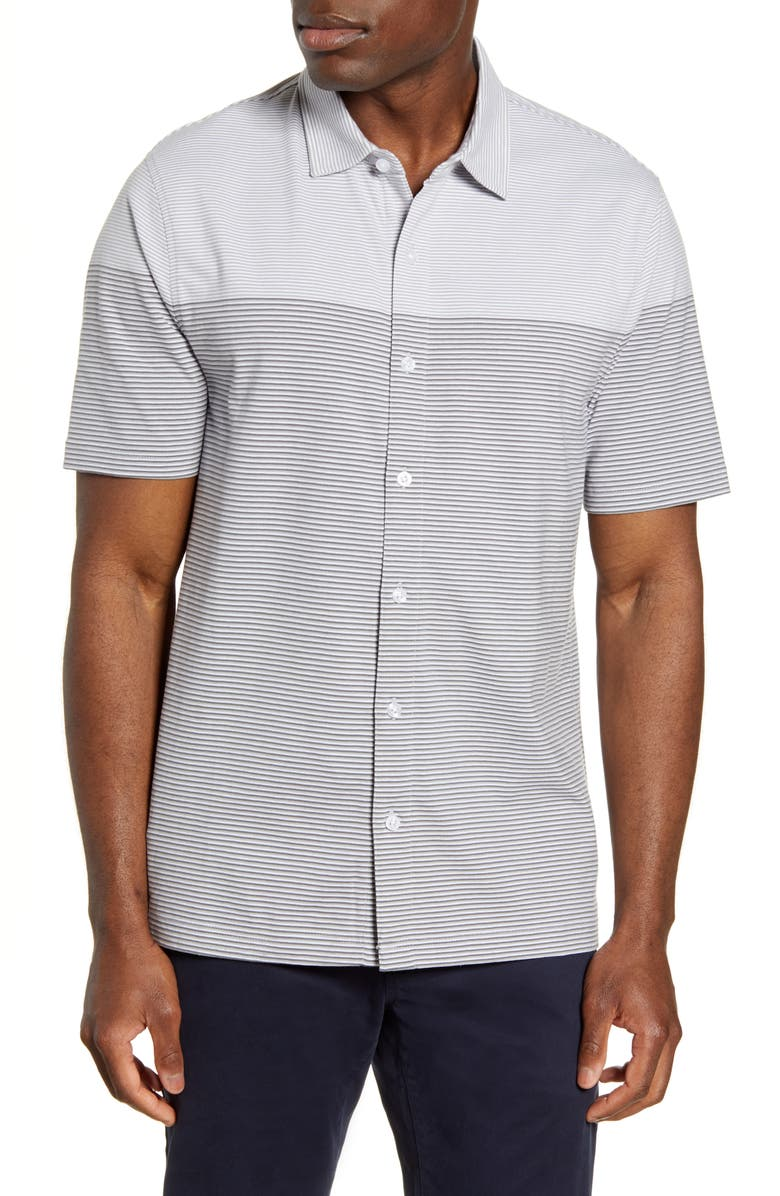 CUTTER & BUCK Classic Fit Stripe Short Sleeve Button-Up Sport Shirt, Main, color, POLISHED