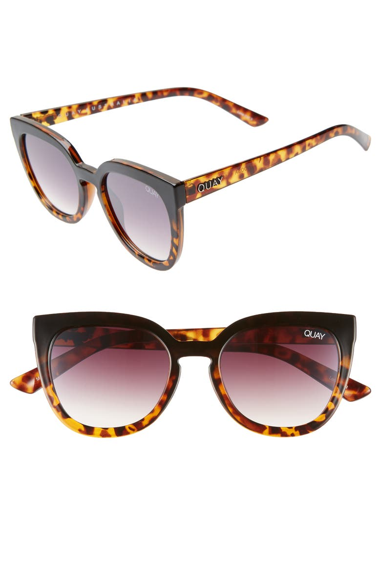 QUAY AUSTRALIA Noosa 55mm Cat Eye Sunglasses, Main, color, BLACK TO TORT / BROWN FADE