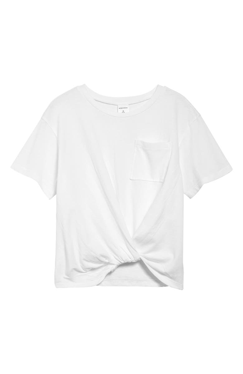NORDSTROM Kids' Knot Front T-Shirt, Main, color, WHITE