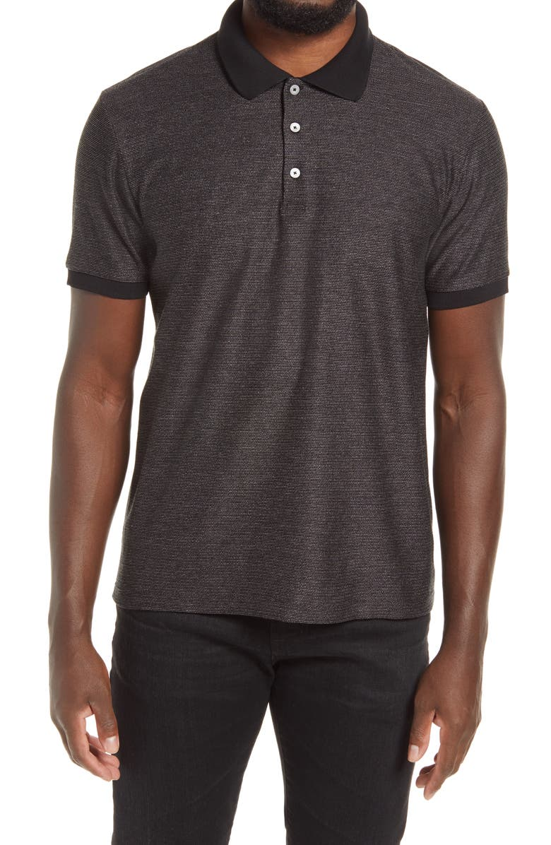 THEORY Micro Grid Short Sleeve Polo, Main, color, BLACK/ WHITE GREY