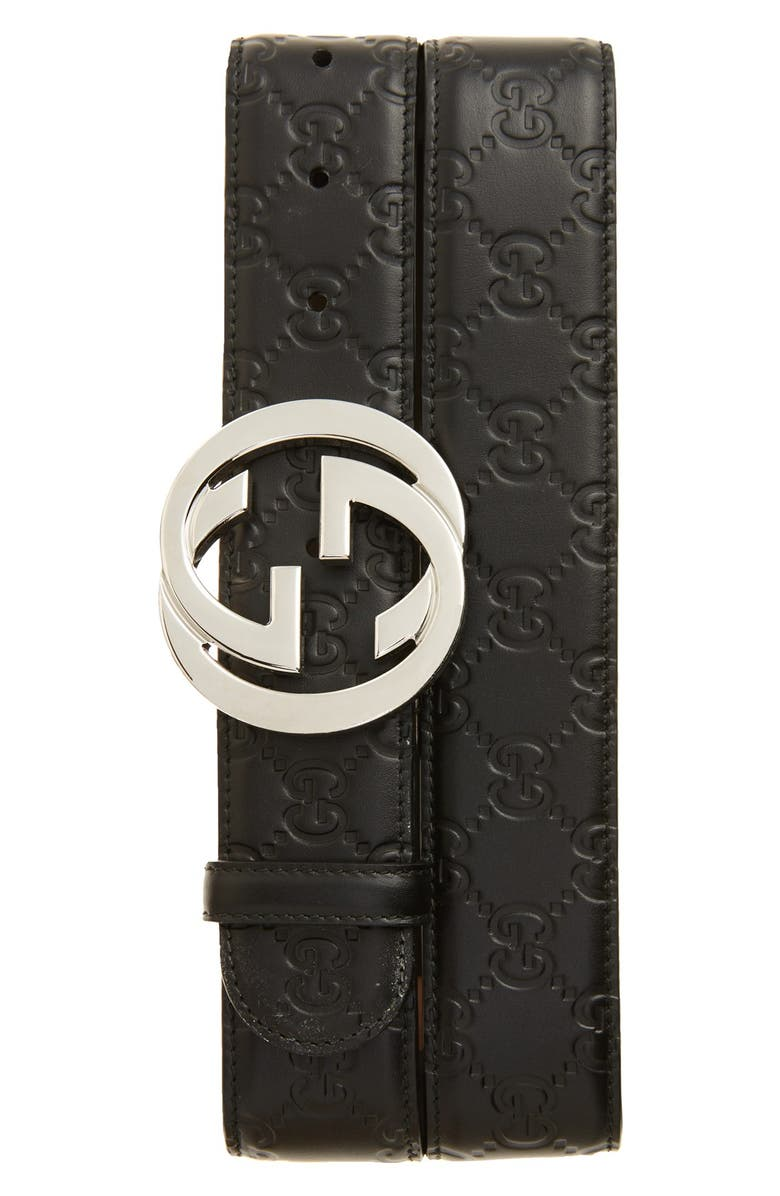 GUCCI Interlocking G Buckle Logo Embossed Leather Belt, Main, color, 001