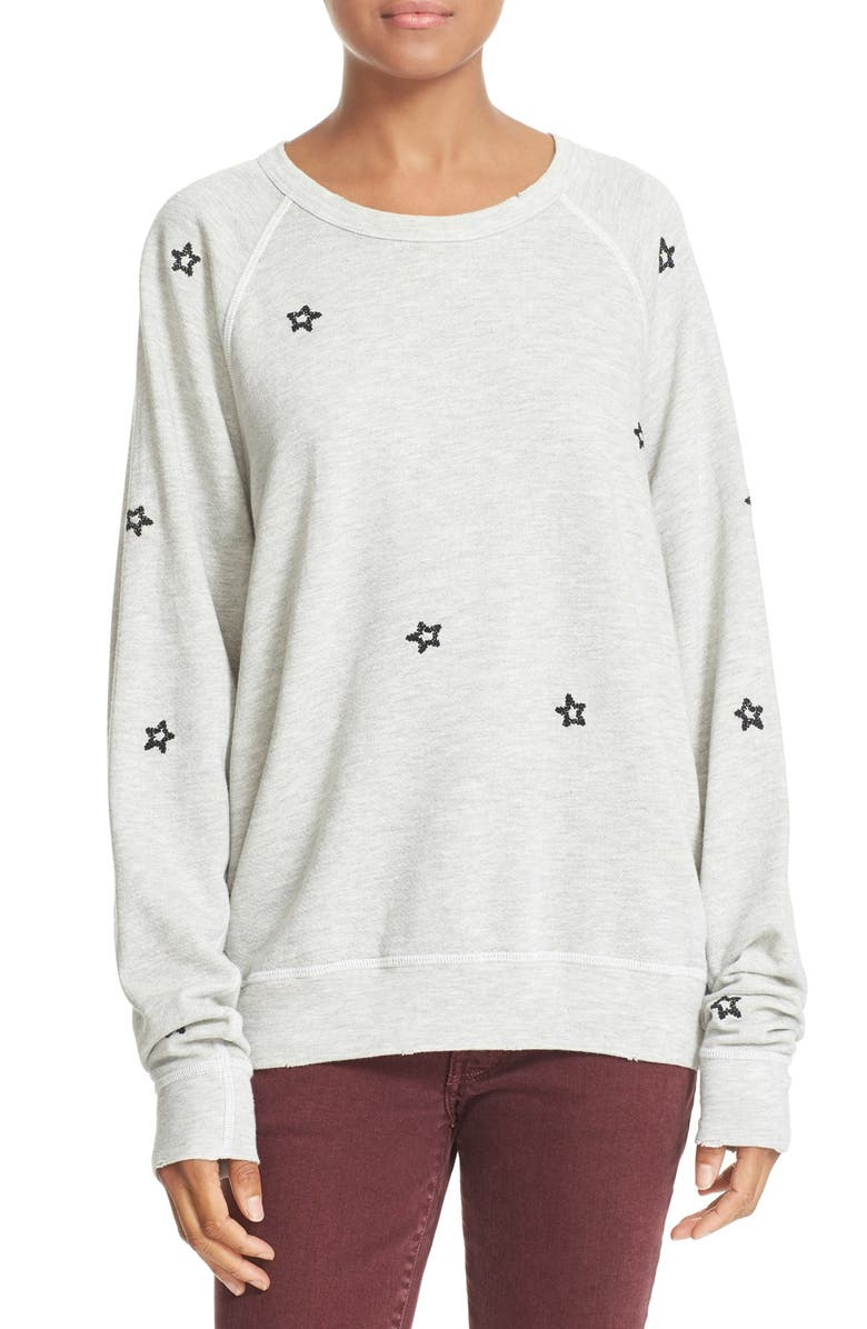 THE GREAT. 'The College' Embroidered Sweatshirt, Main, color, HEATHER GREY
