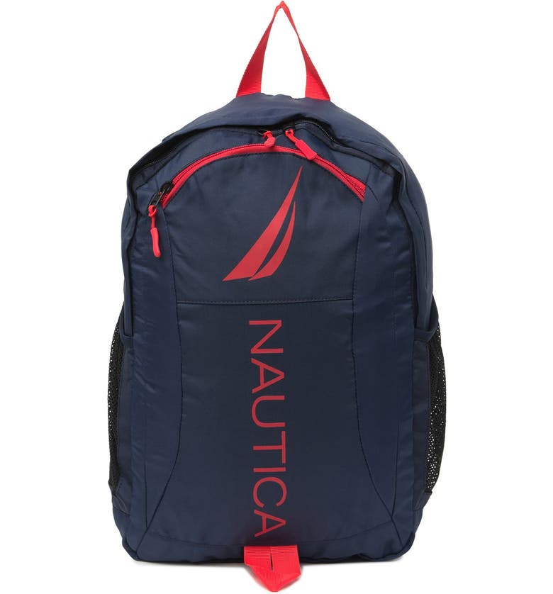 NAUTICA Paneled Logo Backpack, Main, color, RED