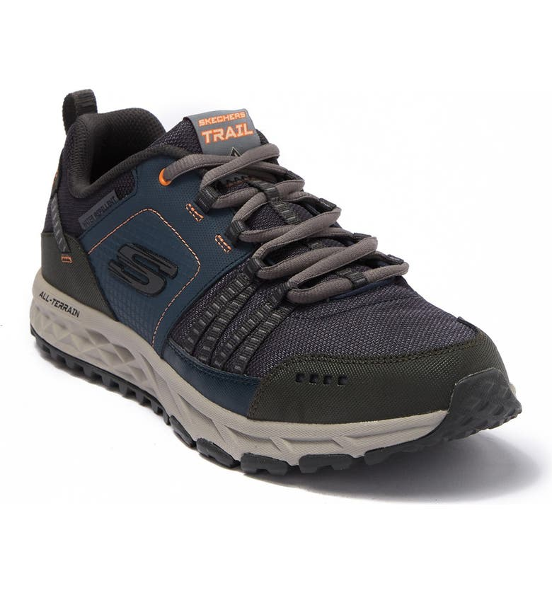 SKECHERS Escape Plan 2.0 Mueldor Leather Trail Shoes, Main, color, NVOR-NVY/O