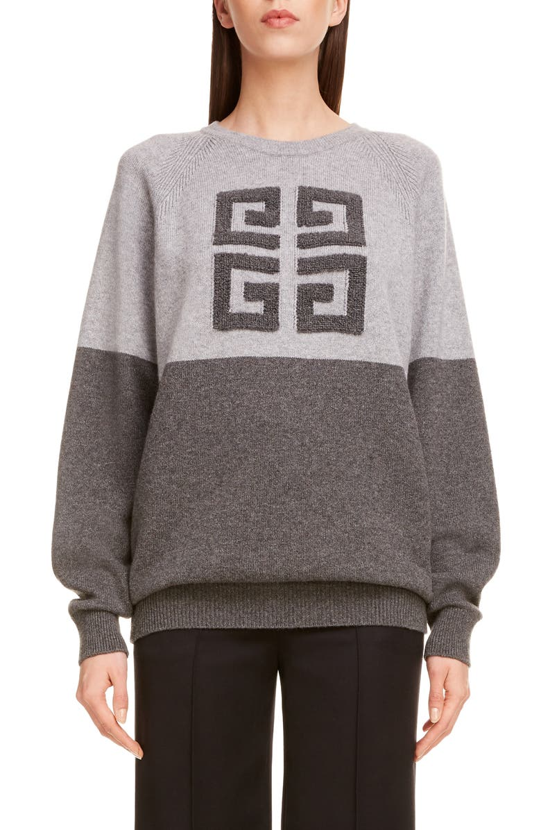 GIVENCHY Embossed Logo Bicolor Cashmere Sweater, Main, color, GREY