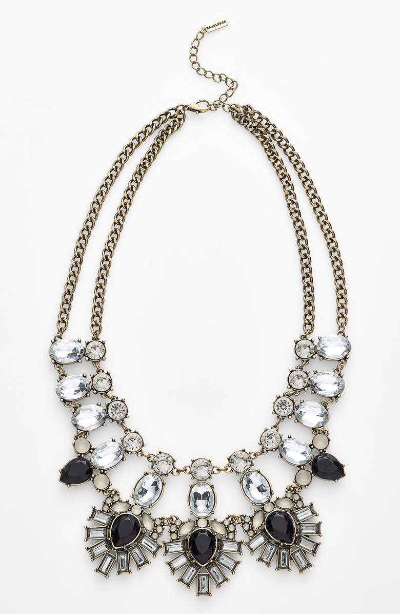 BAUBLEBAR 'Drama' Mixed Stone Statement Necklace, Main, color, BLACK MULTI/ BRASS