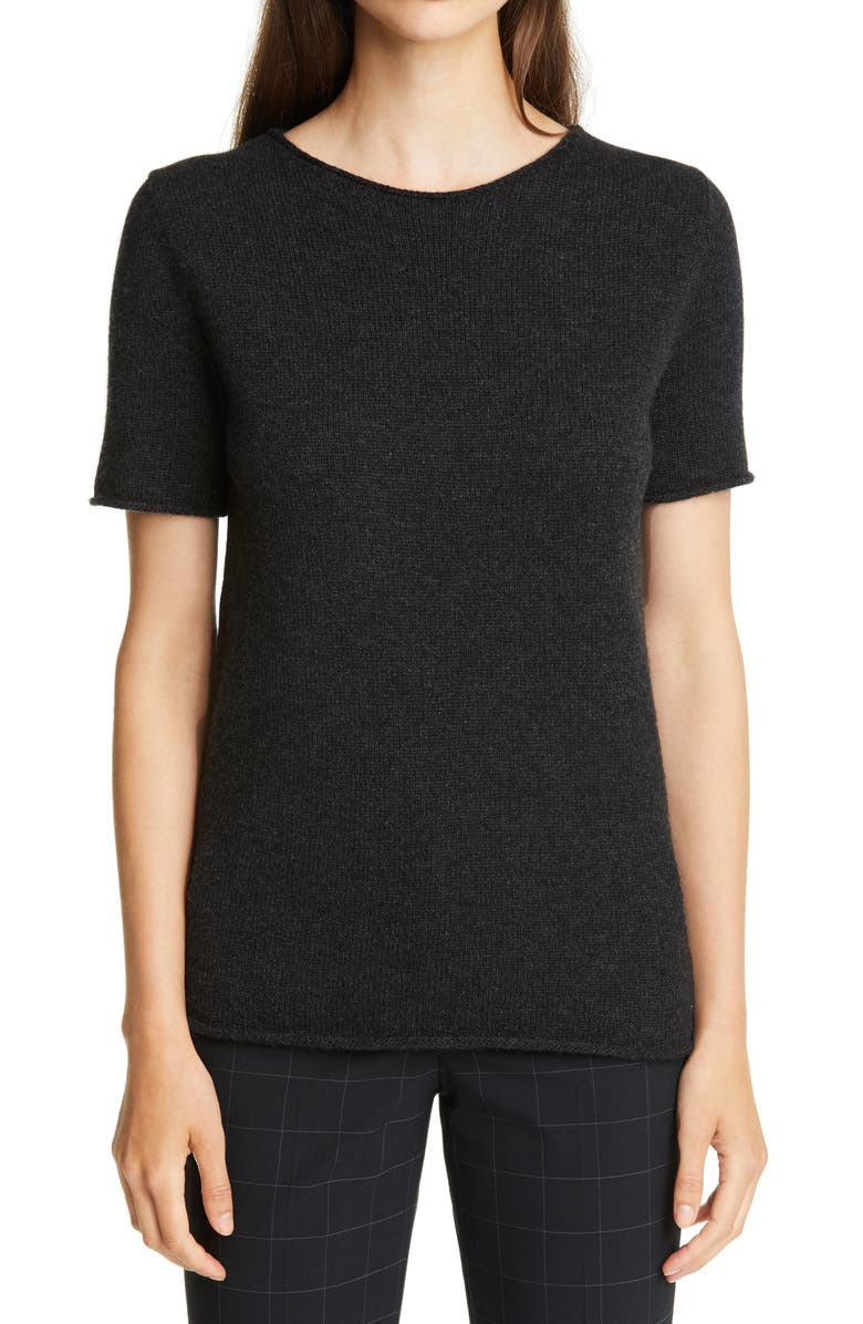 THEORY Tolleree Short Sleeve Cashmere Sweater, Main, color, DARK CHARCOAL