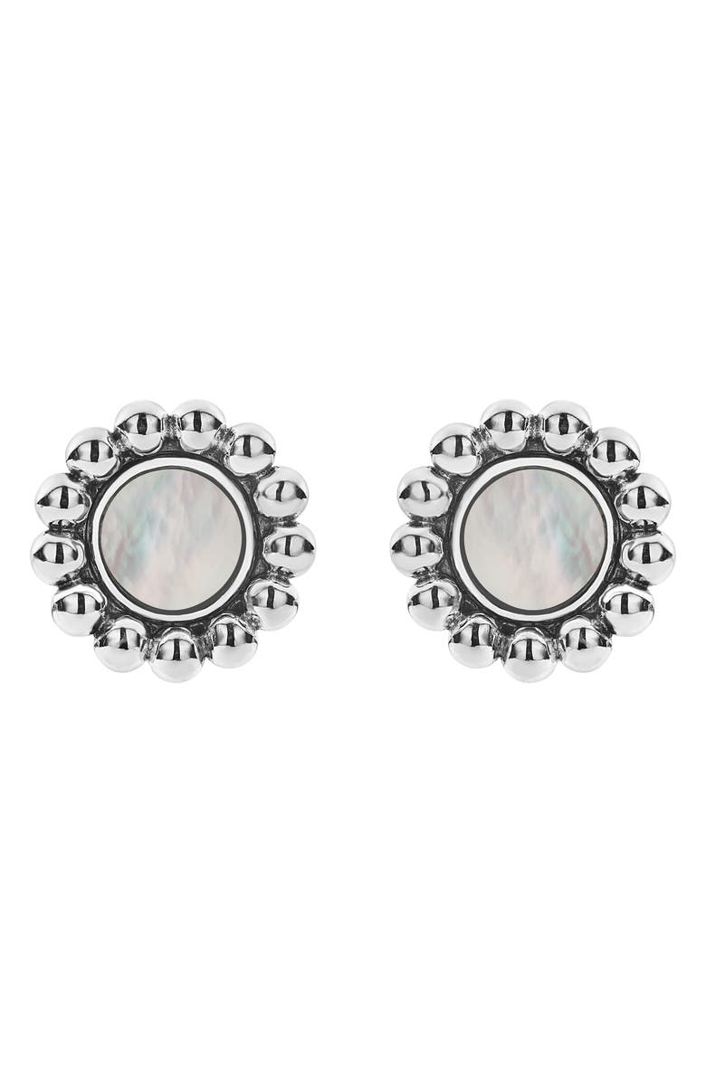 LAGOS Maya Circle Stud Earrings, Main, color, SILVER/ WHITE MOTHER OF PEARL