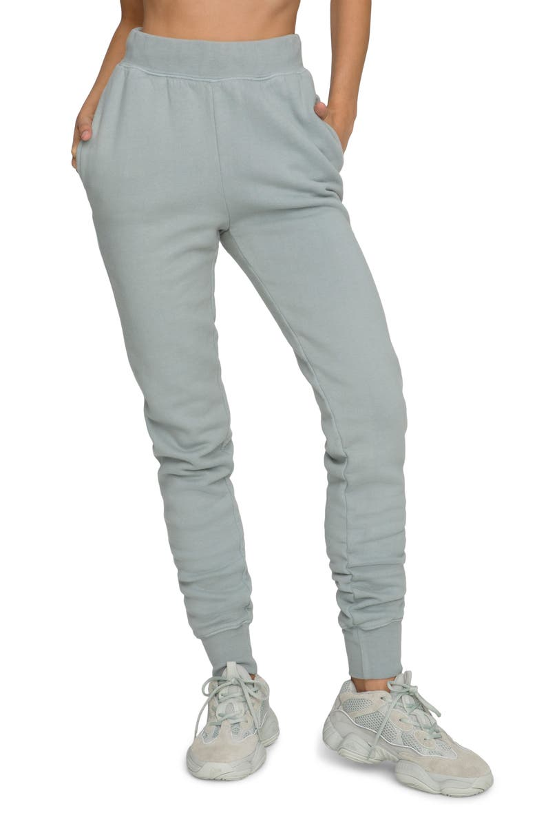 GOOD AMERICAN Good Waist Cotton Terry Joggers, Main, color, QUARRY001