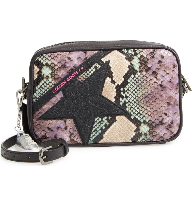 GOLDEN GOOSE Star Snake Embossed Leather Camera Bag, Main, color, SNAKE PRINT