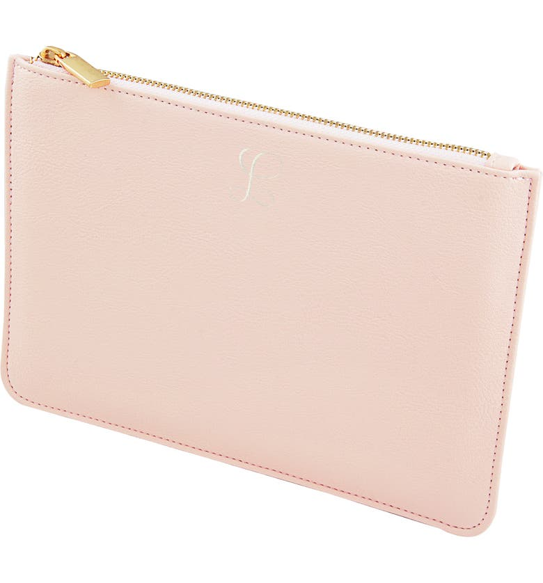 CATHY'S CONCEPTS Personalized Vegan Leather Pouch, Main, color, BLUSH PINK L