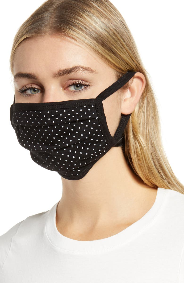 NORDSTROM 4-Pack Adult Pleated Knit Face Masks, Main, color, KNIT STAR PACK