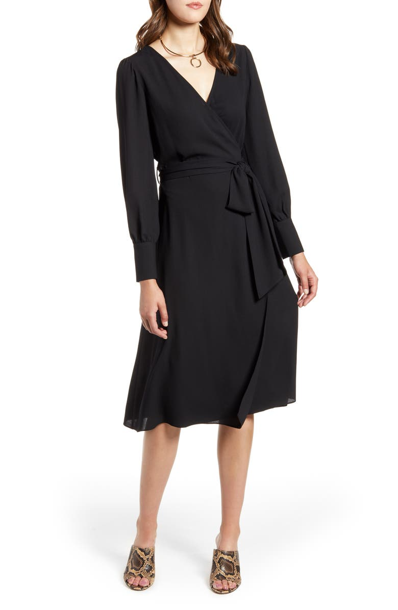 HALOGEN<SUP>®</SUP> Long Sleeve Wrap Midi Dress, Main, color, 001