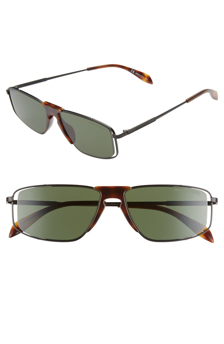 ALEXANDER MCQUEEN 57mm Rectangle Sunglasses, Main, color, 002
