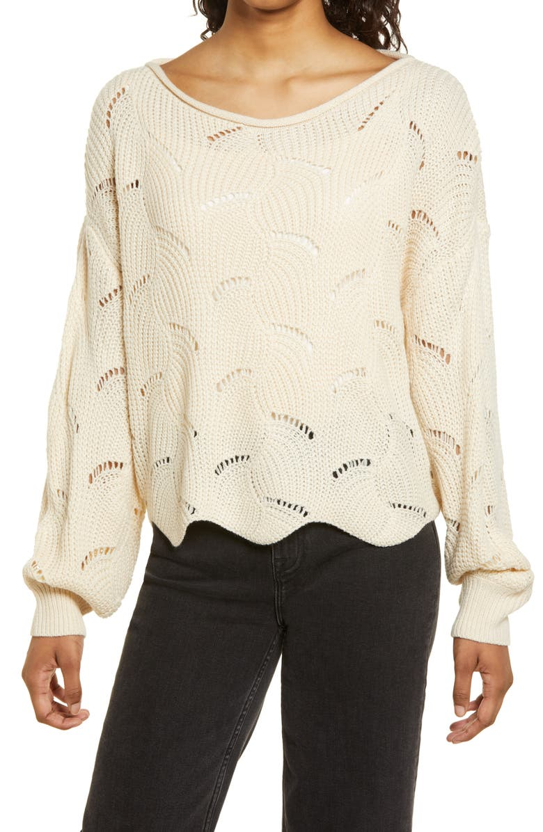 LULUS Moonglow Loose Knit Sweater, Main, color, BEIGE
