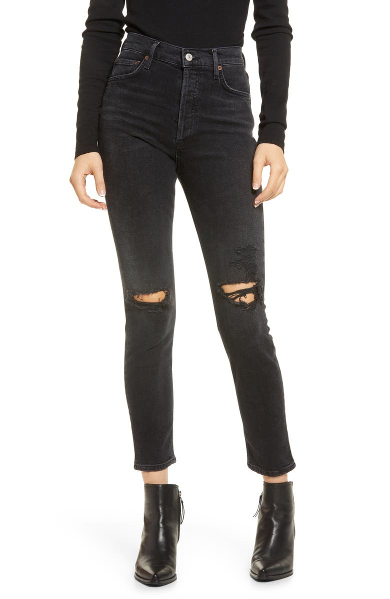 AGOLDE Nico Distressed High Waist Skinny Ankle Jeans, Main, color, CASSETTE
