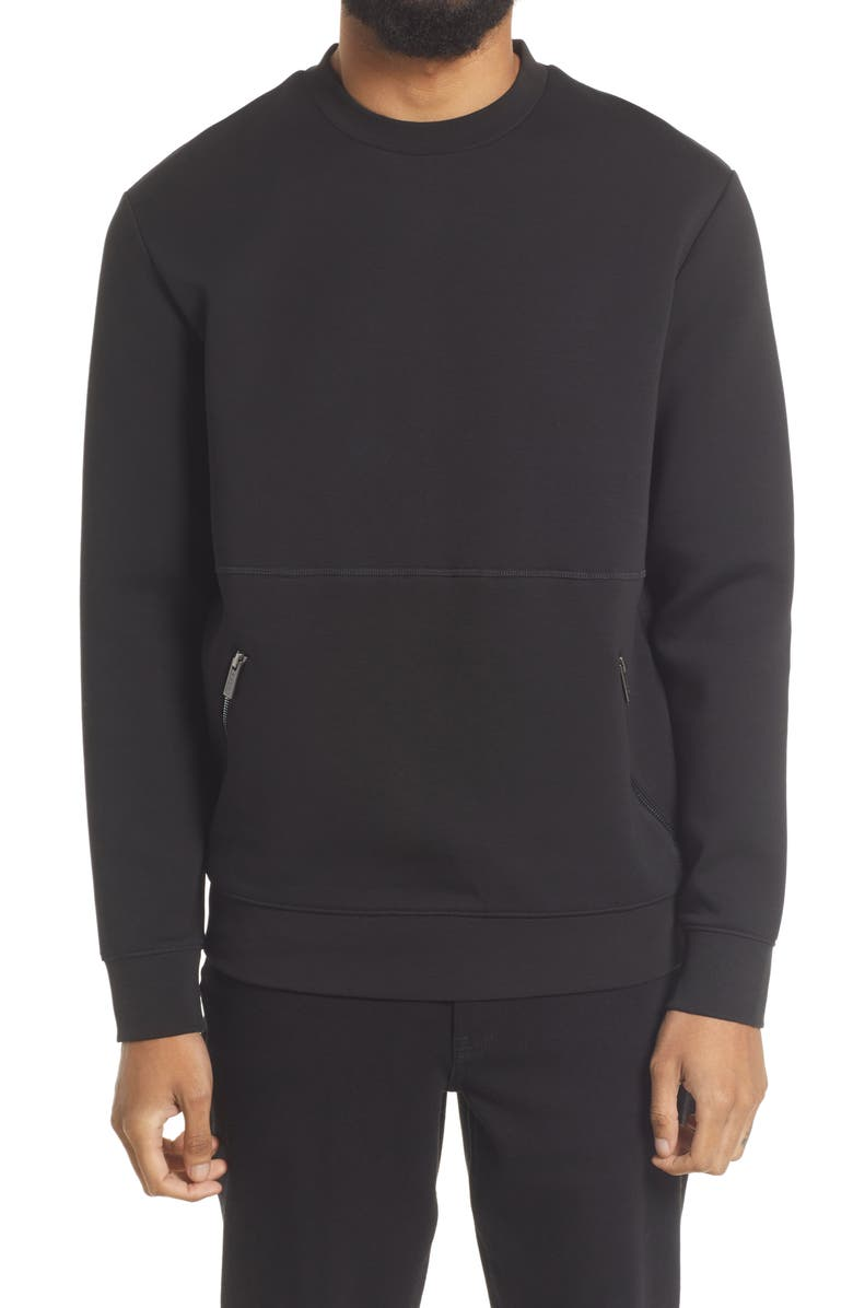 HUGO Dokota Fleece Sweatshirt, Main, color, BLACK