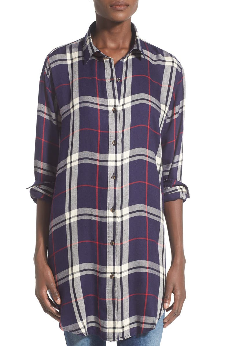 THREAD & SUPPLY 'Jillian' Plaid Tunic Shirt, Main, color, 412