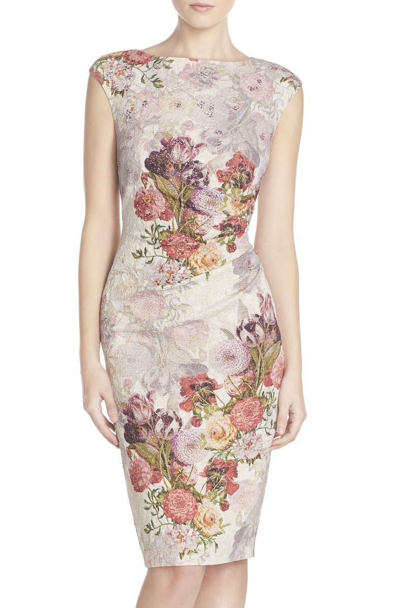 ADRIANNA PAPELL Embellished Ruched Metallic Jacquard Sheath Dress, Main, color, ROSE MULTI