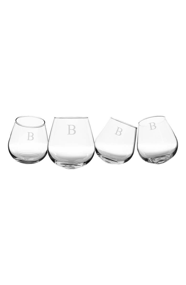 CATHY'S CONCEPTS Monogram Tipsy Set of 4 Wine Glasses, Main, color, CLEAR B