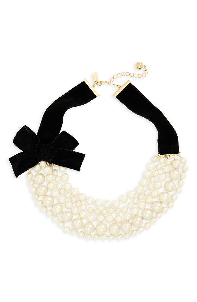 KATE SPADE NEW YORK girls in pearls frontal necklace, Main, color, 900