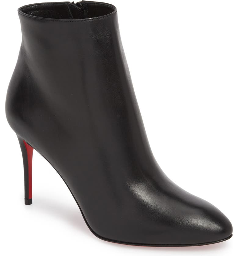 CHRISTIAN LOUBOUTIN Eloise Pointed Toe Bootie, Main, color, BLACK LEATHER