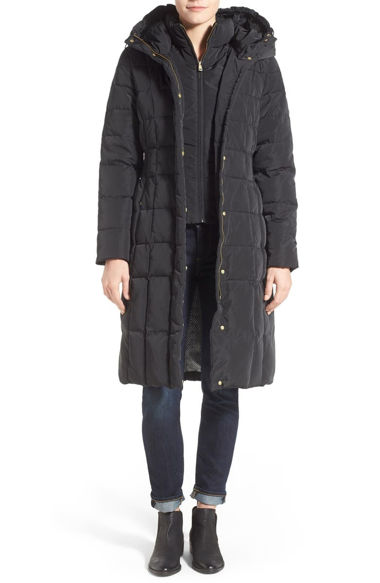 COLE HAAN SIGNATURE Cole Haan Bib Insert Down & Feather Fill Coat, Main, color, 001